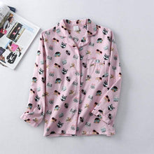 Load image into Gallery viewer, This button down shirt is made from 100% cotton and is the classic part of the cat pjs that gives you a feminine look and a classic silhouette.