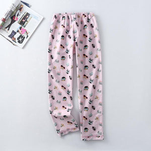 The drawstring pants of these pajamas with cats on them keep you cozy and give you enough stretch to make lounging more comfortable.