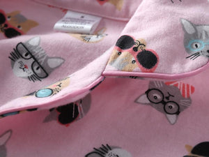 These cute pink pajamas with cats on them are perfect for staying comfy at home and refreshing your lounge wear!