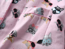 Load image into Gallery viewer, These pink cat print pajamas make for a thoughtful gift for a cat lady and they are both cute and comfy to wear.