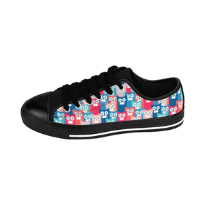 The All Cats Love Me cat sneakers feature a colorful cat themed print that is truly unique and stands out.
