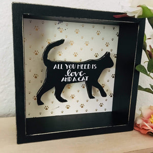 Cat Wall Art, Cute Black Cat Sign with the Words All You Need Is Love And A Cat Printed On a Black Cat Silhouette