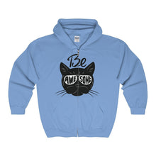 Load image into Gallery viewer, Get cute and comfy with this pastel blue Be Awesome cat hoodie featuring a black cat wearing glasses printed on the front.