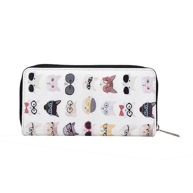 Cat wallet decorated with cats wearing glasses