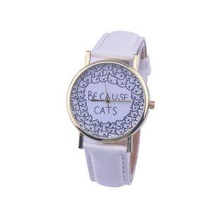 "This cat wrist watch is decorated with cat faces and the text ""Because Cats"" and is perfect for wearing every day."