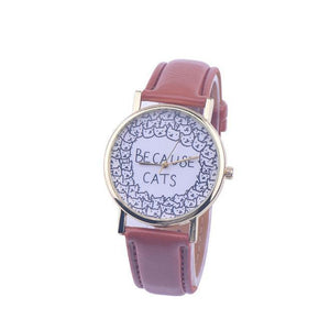 "If you're looking for fun cat themed gifts for a friend, pick up this cute cat watch featuring the text ""Because Cats"" and the outlines of cute cat faces."