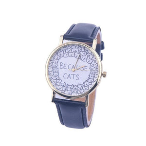 "Add a pinch of cuteness to your everyday style with this adorable cat watch featuring cute cat faces on a white dial and the print ""Because Cats""."