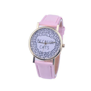 "This cute cat watch features black cat faces and the text ""Because Cats"" printed in black on a white dial."