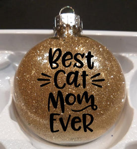 Cat Themed Christmas Gifts for Women, Best Cat Mom Ever Christmas Ornament In Golden Glitter