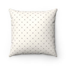 Load image into Gallery viewer, The back of this decorative cat pillow features a beige paw print pattern that is easy to coordinate with the rest of your home decor and furniture.