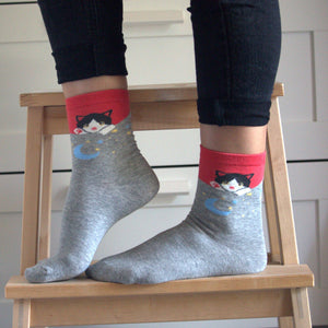 Funny Cat Socks for Women Featuring a Black and White Cat