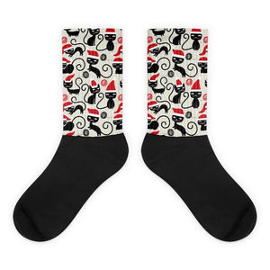 Cute Cat Socks, Womens Cat Christmas Socks with Black Cat Pattern, Christmas Gifts for Cat Lovers