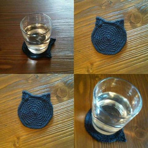 Gift Ideas for Cat Lovers, Black Cat Coasters Hand-Crochet from 100% Cotton
