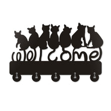 Load image into Gallery viewer, For a fun and functional black cat home decor piece, pick up this black cat coat hanger decorated with 7 black cats and featuring 5 metal hooks.