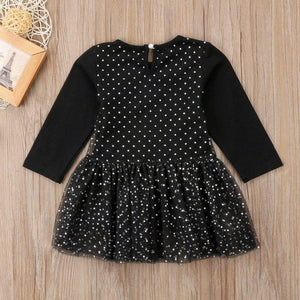 Girls black cat dress featuring a tutu skirt and a top