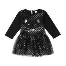 Load image into Gallery viewer, Black cat dress for girls featuring a tutu skirt and sequins decoration