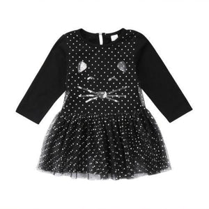 Black cat dress for girls featuring a tutu skirt and sequins decoration