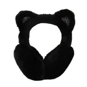 Cat Earmuffs for Women, Black Kitty Cat Ear Earmuffs