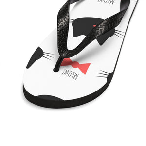 If you're looking for cool things for cat lovers, pick up these Black Cat flip flops featuring black cats with red bow ties printed against a white background.