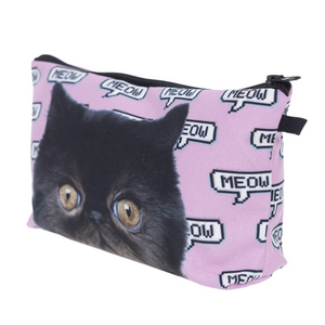 Cat Cosmetic Bag Featuring a Fluffy Black Cat and the Words Meow Printed On a Pink Background