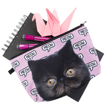Load image into Gallery viewer, Cat Themed Gifts for Women, Cute Black Cat Makeup Bag