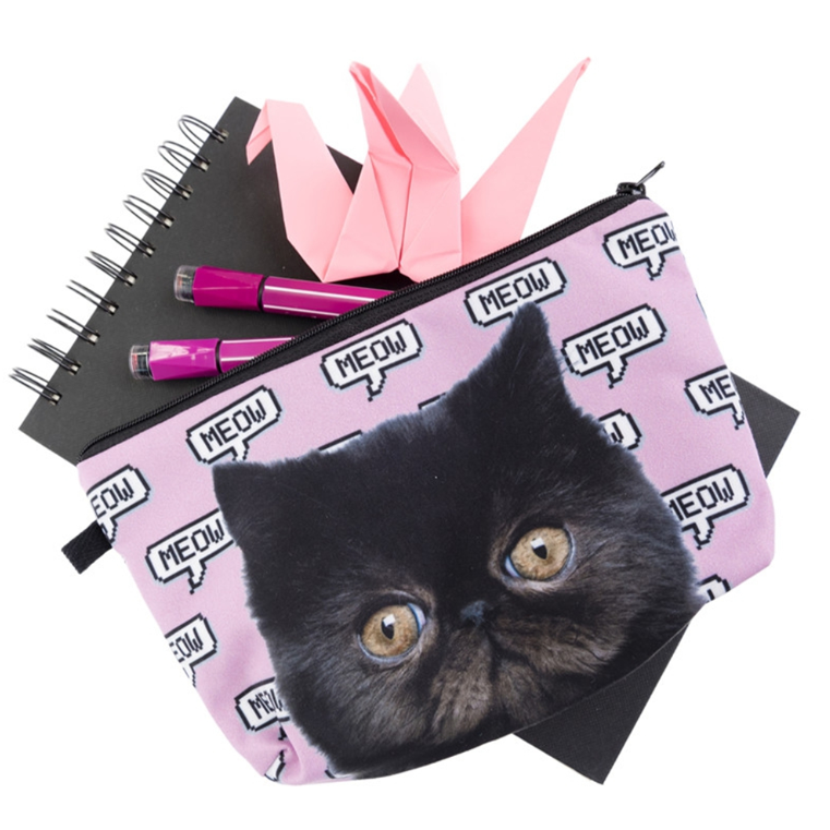 Cat Themed Gifts for Women, Cute Black Cat Makeup Bag