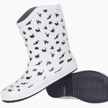 Load image into Gallery viewer, Cat Wellies, Cute Black Cat Rain Boots for Cat Lovers Featuring a Black Cat Print On a White Background