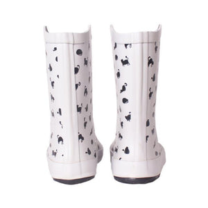Cute Cat Shoes, Cat Rain Boots Featuring Black Cats Printed On a White Background