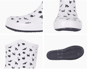 Cute Things for Cat Lovers, Cat Rain Boots Featuring Black Cats On a White Background