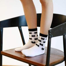 Load image into Gallery viewer, Black Cat Socks, Cute Cat Socks with Black Cats On Them