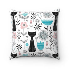Load image into Gallery viewer, One of our favorite pillows with cats on them, this decorative cat throw pillow is decorated with black cats and colorful flowers.
