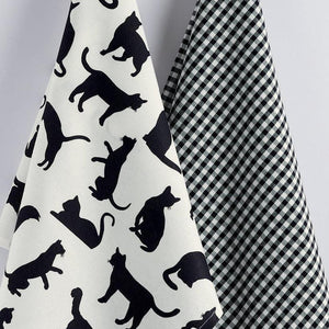 Black Cat Tea Towel And Black And White Checkered Kitchen Towel