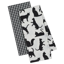 Load image into Gallery viewer, Black Cat Kitchen Towels Sold In A Set of 2