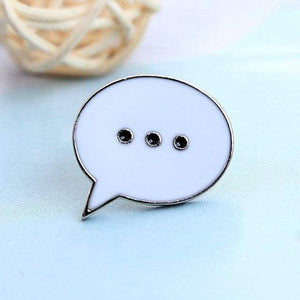 This white pin is in the shape of a thought bubble with three dots in the middle.