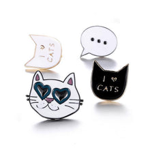 Load image into Gallery viewer, Available in 4 different designs, including a black cat pin, a white cat pin, and a cat wearing glasses brooch, these cat pins are a great way to make your jacket or handbag unique and truly you.