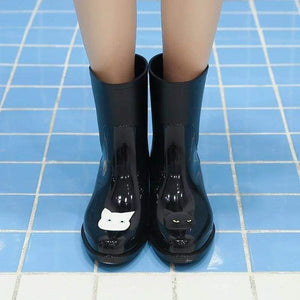 Things for Cat Ladies, Black Cat Rain Boots Decorated with a Black Cat and a White Cat
