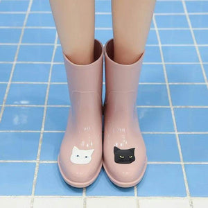 Cool Things for Cat Lovers, Cat Wellies Decorated with a Black and a White Cat Face
