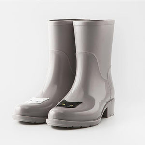 Cool Stuff for Cat Lovers, Cat Rain Boots In Light Gray Featuring a Black and a White Cat Face