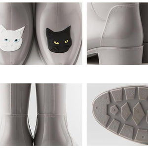 Cute Shoes for Cat Ladies, Cat Rain Boots Decorated with a Black and a White Cat
