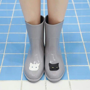 Shoes with Cats On Them, Gray Cat Rain Boots with a Black and a White Cat Face