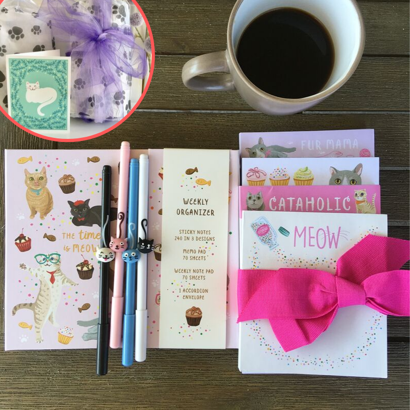 Cat Lover Gift Set Featuring Cat Notebook Notepad Set and Pens