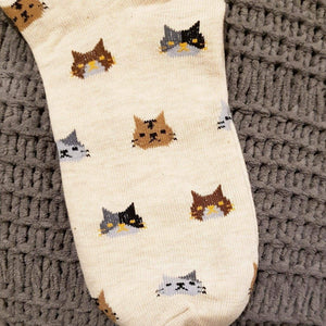 Socks with Cats On Them for Women Made of Soft Beige Cotton Fabric