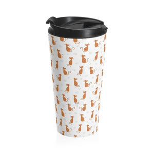 This cute travel mug features an orange cat print on a white background and has a 15 ounce capacity.