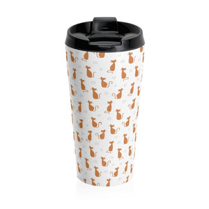 Made from stainless steel, this animal coffee mug is decorated with orange cats on a white background.