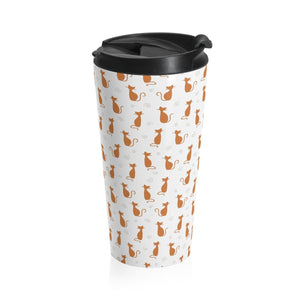 Perfect for cat lovers who have their coffee on the go, this cat print travel mug is cute and functional.