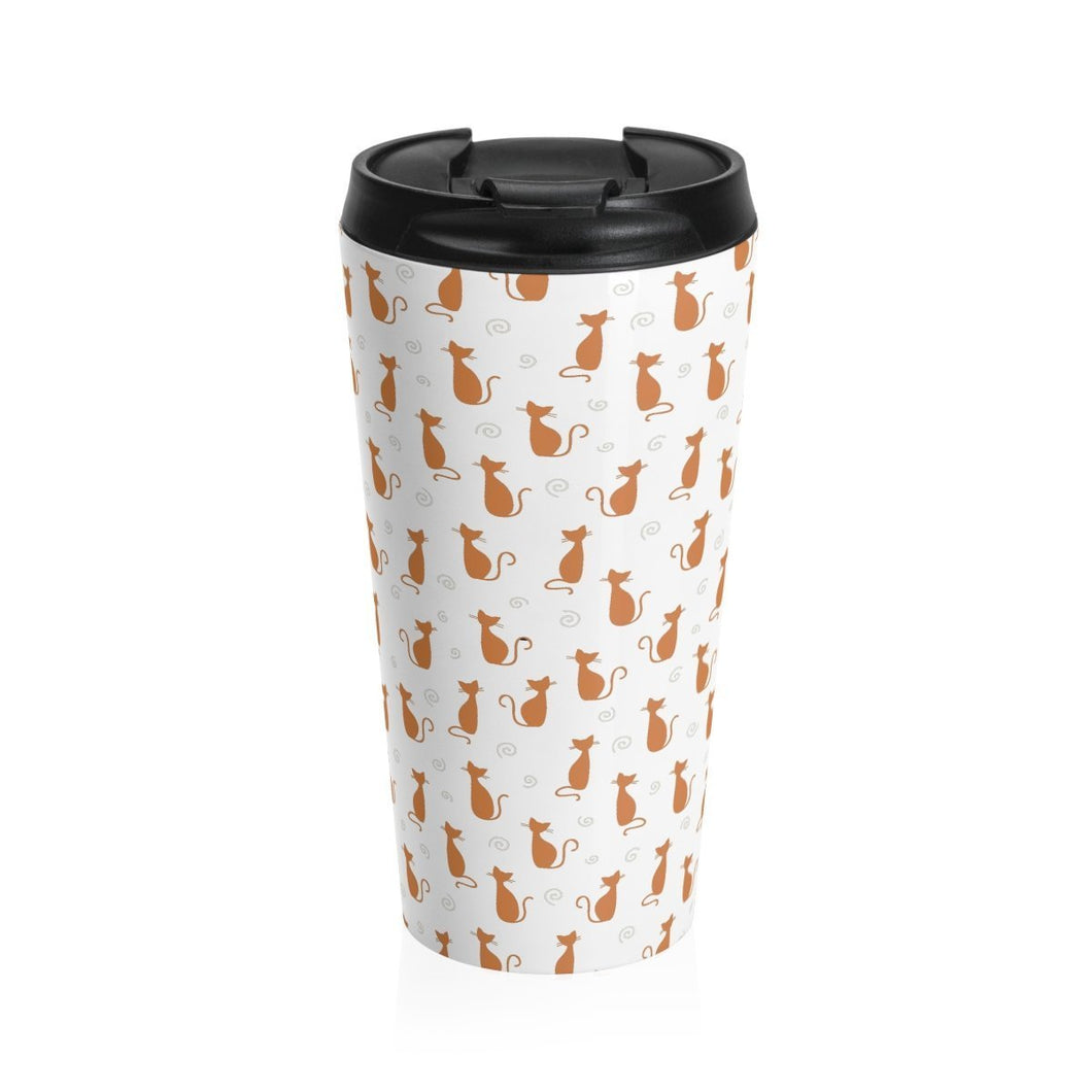This stainless steel cat travel mug is decorated with orange cats on a white background and is inspired by the cute spots of calico cats.