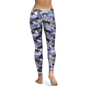 Cat Leggings for Women Printed with Gray Blue and Black Cats