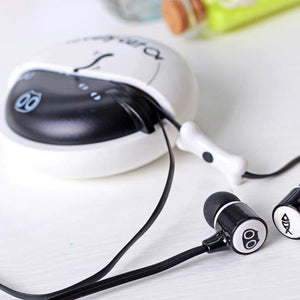 The perfect cat gift for cat people, these fun headphones feature a cute black cat and a fish printed on each earbud.