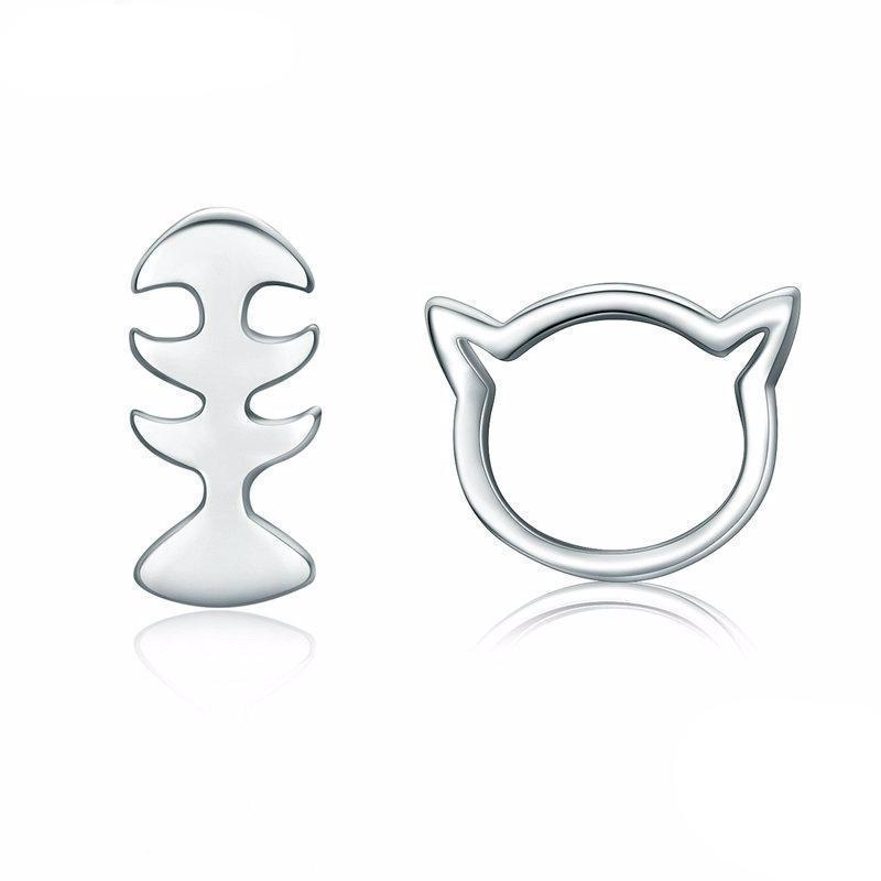 Pick up these cute sterling silver cat and fish studs for a cool cat jewelry you'll love wearing every day.