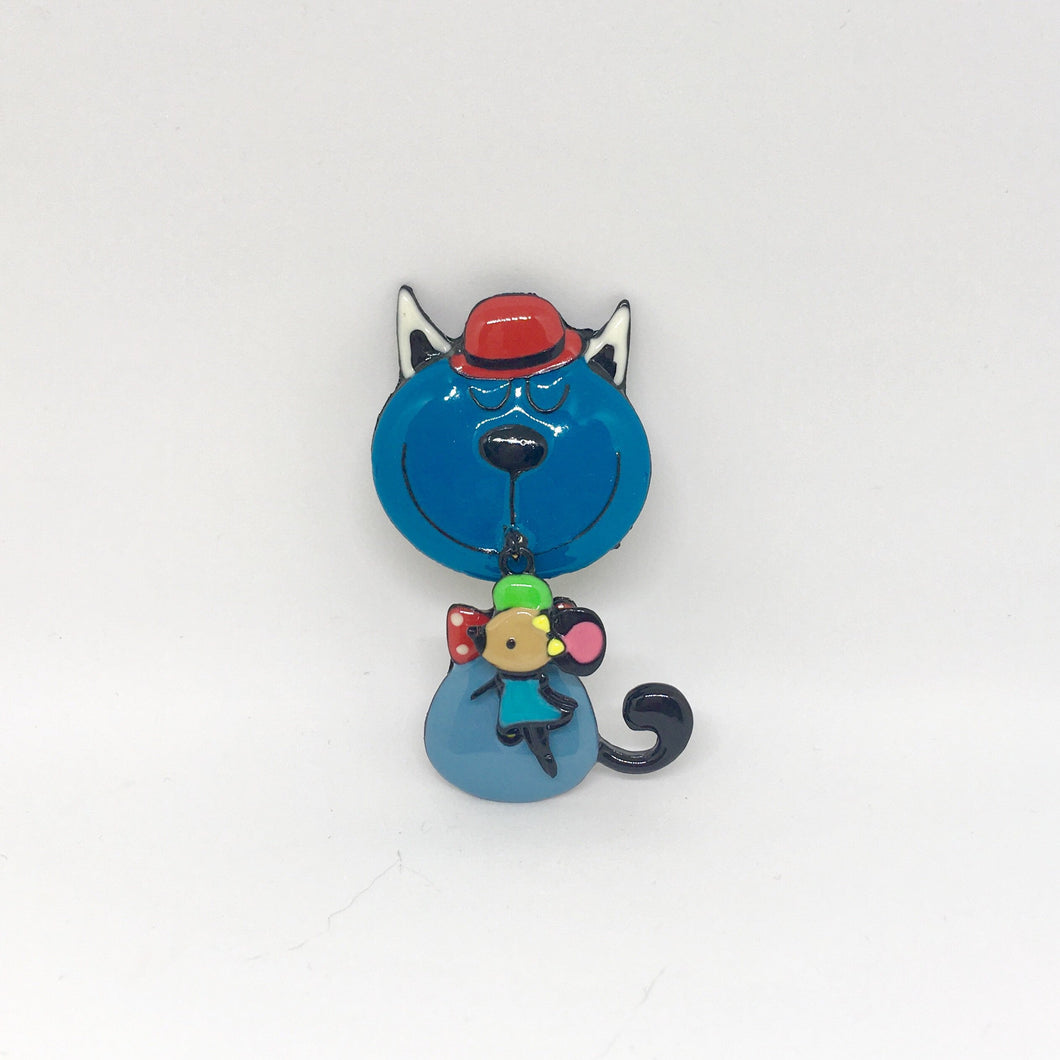 Cat Gifts for Her, Cat Pin Featuring a Colorful Blue Cat